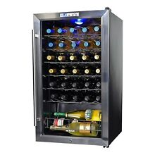 NewAir 33 Bottle Wine Cooler Fridge Glass Door Digital Display Chiller