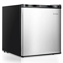 1 1 cu ft  Compact Single Reversible Door Refrigerator Freezer  Stainless Steel