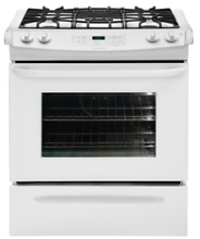 Frigidaire 30  30 inch Self Cleaning White Slide In Gas Range Stove FFGS3025LW
