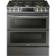 Samsung Fingerprint Resistant Black Stainless Steel Flex Duo Slide In Gas Range
