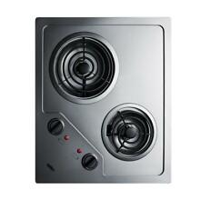 Summit Appliance 21 in  Coil Electric Cooktop in Stainless Steel with 2 Elements