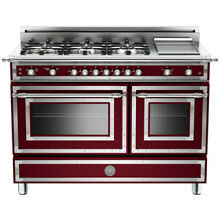 BRAND NEW  Bertazzoni Heritage 48  Gas Range in Burgundy  Model  HER486GGASVI