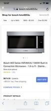 NIB BOSCH MICROWAVE OVEN HMV8053U OVER THE RANGE With VENT