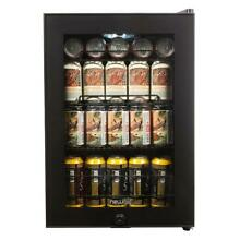 Newair 90 Can Beverage Cooler Refrigerator Freestanding Compact Glass Door Black