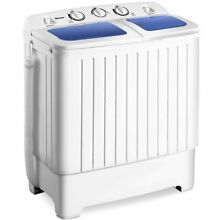 Portable Mini Compact Twin Tub Washing Machine 17 6lbs Washer Spain Spinner  Blu