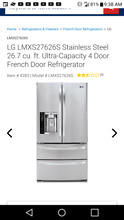 Lmxs27626s LG Stainless Steel 26 7 cu  ft  Ultra Capacity French Door Ref