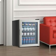 52 Can Beverage Refrigerator Cooler with Glass Door Stainless Steel