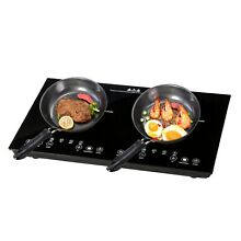 1800W Electric Dual Induction Cooker Countertop Double Burner Cooktop Digital