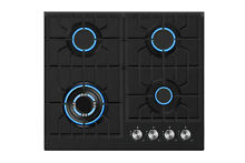 24 in Tempered Glass Gas Cooktop 4 Italy Sabaf Burners Built in Stove  902