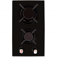 Builtin Domino Gas Cooktop Stove Top 2 Sealed Burners Black Glass Cooker Hob New