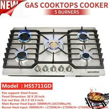 30  Cooktop Stainless Steel 5 Burners Built in Stove LPG NG Gas Cooktop Warranty