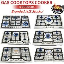 Silver 23  30  34  3 4 5 6 Burners Built In Stove NG LPG Gas Cooktops Steel Hobs