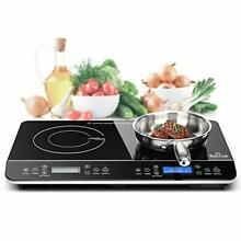 Duxtop LCD Portable Double Induction Cooktop 1800W Digital Electric Counterto