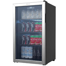 Vremi 3 6 Cubic Foot Beverage Glass Door 3 Adjustable Shelves Mini Fridge  Black