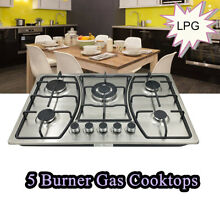 30  Electric Cooktop Gas Stove 5 Burners Built in Stainless Steel LPG Gas Hob US