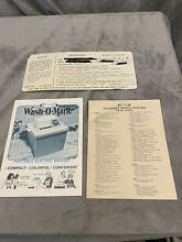 Vintage Rival  Wash O Matic  Portable Washing Machine Model 3400 MANUAL ONLY