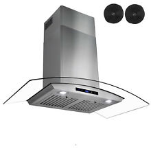 36  Wall Mount Range Hood Stove Vent with Carbon Filters Ductless
