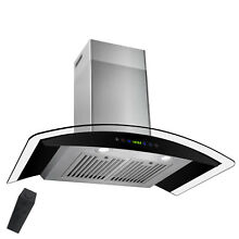 36  Wall Range Hood Stainless Steel Kitchen Fan Stove Black LED Touch Panel