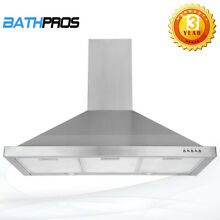 36  Wall Mount Kitchen Range Hood Stainless Steel Push Button LED 190W  3 Speed