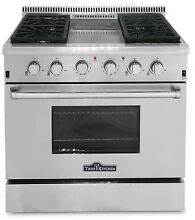 Thor Kitchen 36  Gas Range with 6 Burners and Griddle HRG3617U