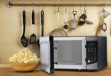 Counter Top Microwave Oven  0 9 Cubic Feet  Stainless Steel Front with Black Cab