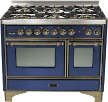 Ilve UMD1006DMPBLY Majestic 40  6 Burner Dual Fuel Double Oven Midnight Blue