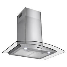 30  Stainless Steel Wall Mount Range Hood with Tempered Glass Push Button Panel