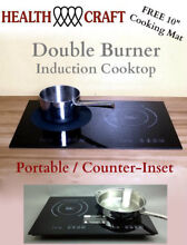 Health Craft Counter Inset Double Burner Induction Cooktop 120vac 1800w