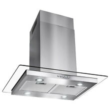 30  Modern Kitchen Island Canopy Mount Range Hood Flat Glass Push Button Panel