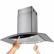 30  Island Range Hood Kitchen Fan Stainless Steel Dual Touch Control Modern