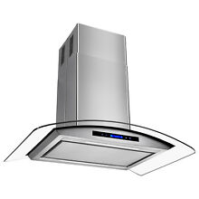 36  Island Stainless Steel Glass Range Hood Removable Grease Filter Kitchen Fan