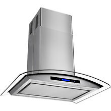 30  Island Stainless Steel Glass Range Hood Removable Grease Filter Kitchen Fan