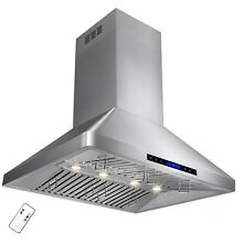 36  Island Mount Stainless Steel Range Hood Kitchen With Remote Control Fan