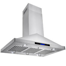 36  Stainless Steel Island Mount Range Hood Touch Screen Display Light LED Lamp