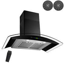 30  Wall Mount Range Hood Black Stainless Steel w  Remote   Timer  Ductless
