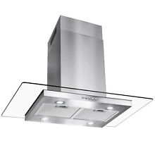 36  Flat Island Mount Stainless Steel Range Hood Push Button Panel