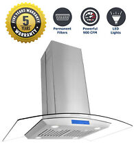 36  Ducted Island Mount Range Hood  900 CFM  Stainless Steel  Filters  LEDs