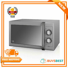 Swan Products Retro 25L Powerful Manual Microwave 900W In Grey   SM22070GRN