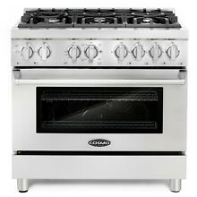 36  4 5 cu ft Dual Fuel Gas Range Convection Oven 6 Italian Burners Stainless