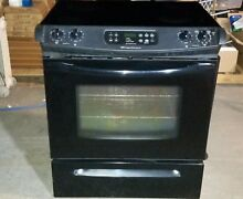 Frigidaire Slide in Glass top stove w  Self Cleaning oven  Black