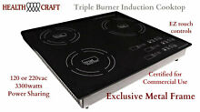 Triple Burner Induction Cooktop   Portable or Counter Inset   120 or 220vac