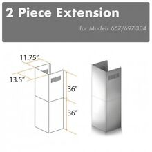 ZLINE WALL Chimney Extension up to 12 ft ceiling OUTDOOR model 697 304  667 304