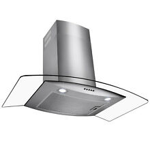 30  Wall Mount Stainless Steel Glass Push Panel Kitchen Range Hood Cooking Fan