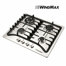 Windmax  23inch 4 Burner Stainless Steel Gas Hob Cooktops   Cast Iron Pan Stands
