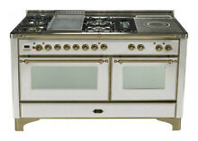 Ilve Majestic UM150FSDMPIY 60  Pro Dual Fuel Gas Range Oven Griddle   French Top