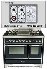 Ilve UMD100SDMPNX 40  Majestic Pro Dual Fuel Gas Range Double Oven French Top