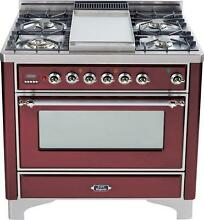 Ilve UM90FDVGGRBX Majestic Series 36  All Gas Range Oven 4 Burners With Griddle