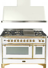 Ilve UM120FDMPB Majestic 48  Pro Dual Fuel Gas Range Oven Hood Kitchen Package