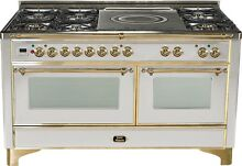 Ilve UM150SDMPI Majestic 60  Pro Dual Fuel Gas Range Oven Stainless French Top