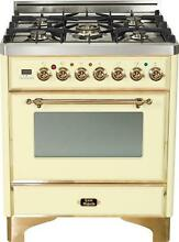 Ilve UM76DVGGA Majestic 30  Pro Single Oven Gas Range Convection Brass Trim